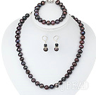 6-10mm dark pearl necklace bracelet earring set