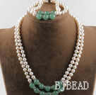 double strand white pearl and aventurine necklace bracelet set with slide lock clasp under $30