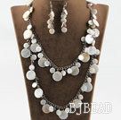 white disc shape shell crystal necklace earrings set