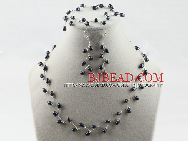 bridal jewelry 67mm natural black rice pearl necklace bracelet