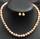 white pearl and green piebald stone necklace with matched bracelet