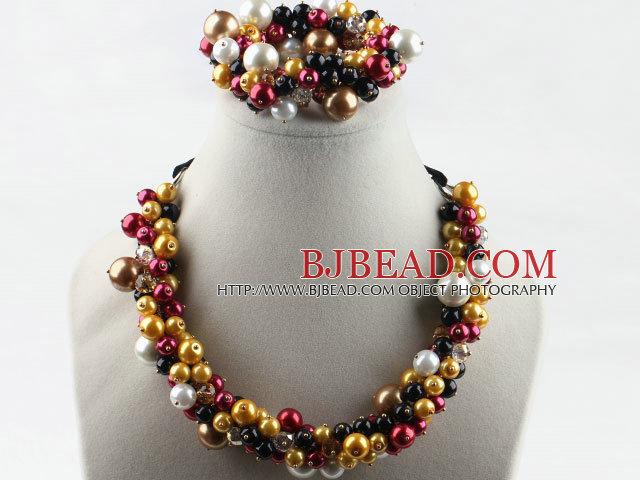 colorful shell beads necklace bracelet set