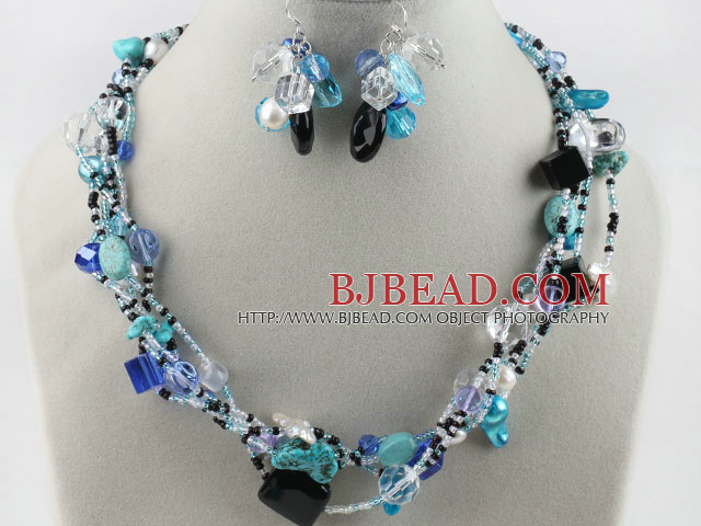 lovely white pearl blue crystal and turquoise necklace earrings set