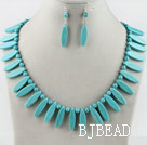 leaf shape turquoise necklace earrings set