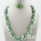 white pearl green crystal necklace earrings set