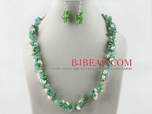 blanco perla verde aretes collar de cristal de conjunto