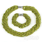 multi strand grass green glass beads pearl set with magnetic clasp