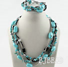 Turquoise and Gray Crystal Set (Necklace and Matched Bracelet) under $ 40