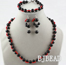 Black Seashell Beads Sets(Necklace Bracelet and Matched Earrings)