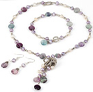 New Design Freshwater Pearl and Rainbow Fluorite Set(Necklace Bracelet and Matched Earrings)