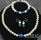 A Grade Round Natural White Freshwater Pearl and Blue Agate Set ( Necklace Bracelet and Matched Earrings )