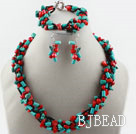 Multi Strand Red Coral and Turquoise Set (Necklace Bracelet and Matched Earrings0 under $ 40