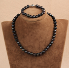 Graceful Hot Sale 9-10mm Natural Smooth Black Pearl Jewelry Set (Necklace & Bracelet)