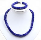 Fashion Simple Blue Jade-Like Crystal Jewelry Set (Necklace With Matched Bracelet)