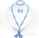 Assorted Sky Blue Crystal Necklace and Matched Bracelet