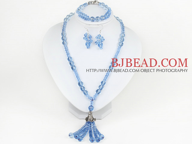 Assorted Sky Blue Crystal Necklace and Matched Bracelet