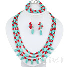 New Design Multi Strand Red Coral and Turquoise Set(Necklace Bracelet and Matched Earrings)