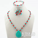 New Design Red Coral and Turquoise Set (Necklace Bracelet and Matched Earrings)