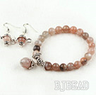 8mm Natural Sunstone Set (Beaded Elastic Bracelet and Matched Earrings) under $7