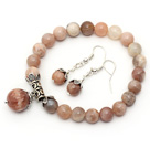 8mm A Grade Natural Sunstone Set (Beaded Elastic Bracelet and Matched Earrings)