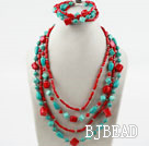 Multi Strand Diverse Turquoise en Red Coral Set (ketting en armband Matched)