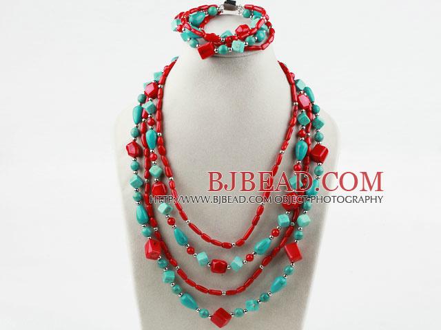 Multi Strand surtido de turquesa y rojo Conjunto Coral (collar y pulsera  Igualados)