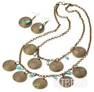 Vintage Style Bronze and Blue Crystal Set ( Necklace and Matched Earrings ) under $ 40