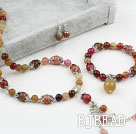 Three Colored Jade Set (Necklace Bracelet and Matched Earrings)