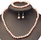Graceful Mother Gift 7-8mm Natural Purple Freshwater Pearl Jewelry Set (Necklace, Bracelet & Earrings)