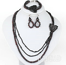 New Design Black FW Pearl and Black Stone with Butterfly Set (Necklace Bracelet and Matched Earrings)