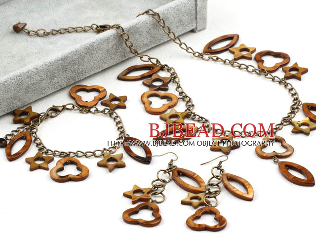 Assorted Star and Heart Shape Brown Shell Set (Necklace Bracelet and Matched Earrings)