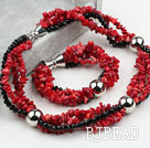 Multi Strand Red Coral and Black Crystal Set (Necklace and Matched Bracelet)