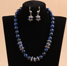 12mm Round Sodalite Beaded Set ( Necklace and Matched Earrings )