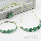 Cool Style Aventurine Set ( Necklace Bracelet and Matched Earrings )