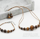 New Design Tiger Eye Set ( Necklace Bracelet and Matched Earrings )