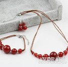 New Design Carnelian Agate Set ( Necklace Bracelet and Matched Earrings )