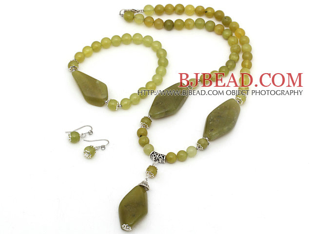 New Design South Korea Jade Set ( Necklace Bracelet and Matched Earrings )