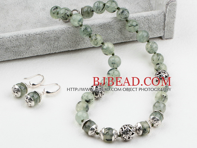 Cool Design 12mm Prehnite Stone Set ( Necklace and Matched Earrings )