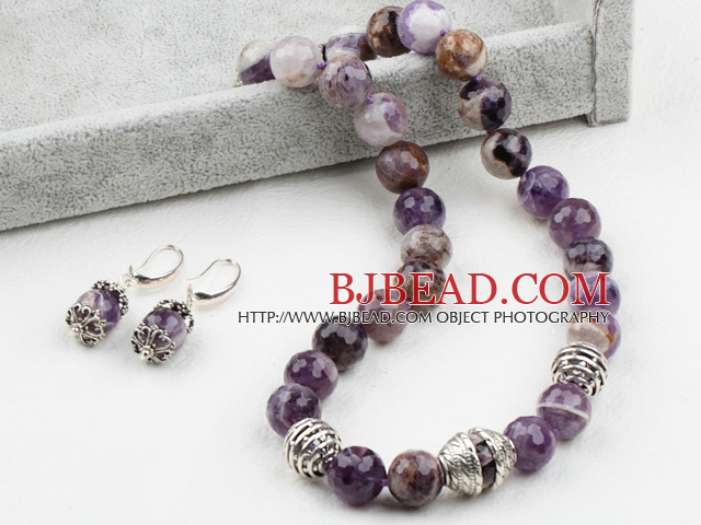 14mm Faceted Amethyst Set ( Necklace and Matched Earrings )