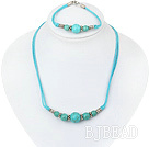 turquoise necklace bracelet set with extendable chain under $ 40