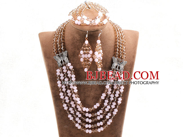 Glamorous 5 Layers Cute Pink Light Brown Crystal Beads African Wedding Jewelry Set With Butterfly Accessory (Necklace With Mathced Bracelet And Earrings)