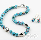 12mm Tibet Turquoise Set ( Necklace and Matched Earrings )