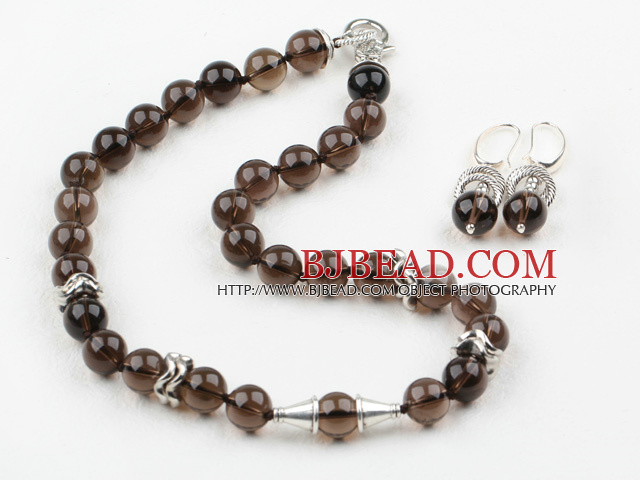 12mm Natural Smoky Quartz Set ( Necklace and Matched Earrings )