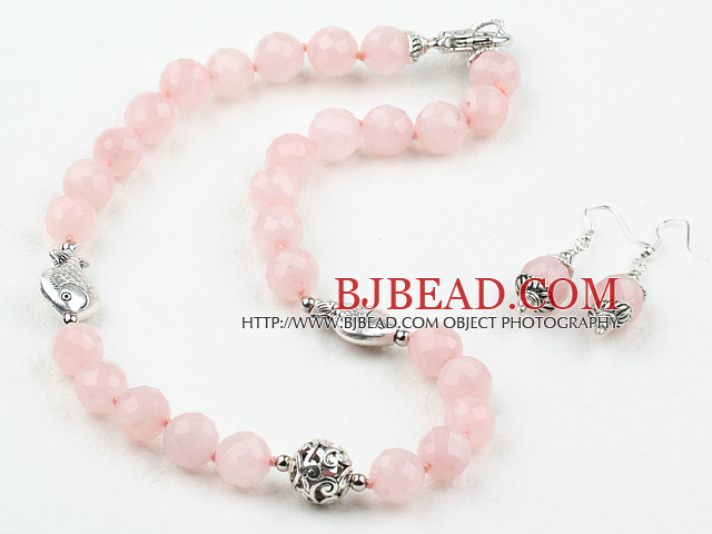12mm Faceted Rose Quartz Set ( Necklace and Matched Earrings )
