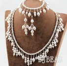 New Design Natural White Freshwater Pearl Bridal Set ( Necklace Bracelet and Matched Earrings ) under $ 40