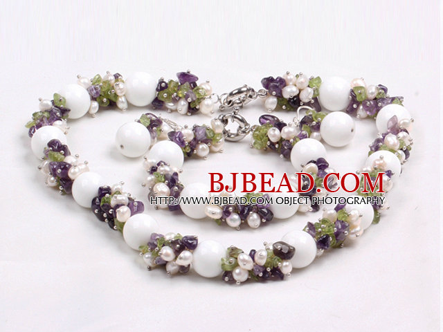 Gorgeous Summer Cluster Natural White Pearl Amethyst Olivine And Big White Porcelian Stone Beads Jewelry Set (Necklace With Matched Barcelet And Earrings)