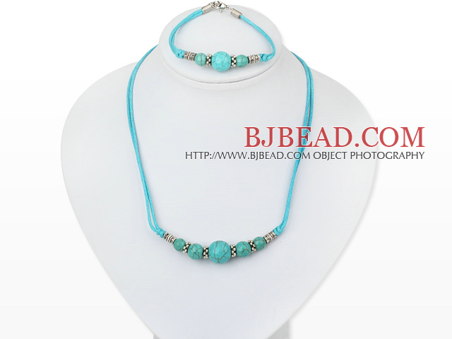 turquoise necklace bracelet set with extendable chain