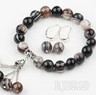 Classic Design Round Sky Eye Agate Elastic Beaded Bracelet with Matched Earrings