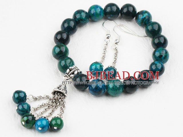 Classic Design Round Phoenix Elastic Beaded Bracelet with Matched Dangle Earrings