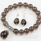 Classic Design Round Natural Smoky Quartz Elastic Beaded Bracelet with Matched Earrings